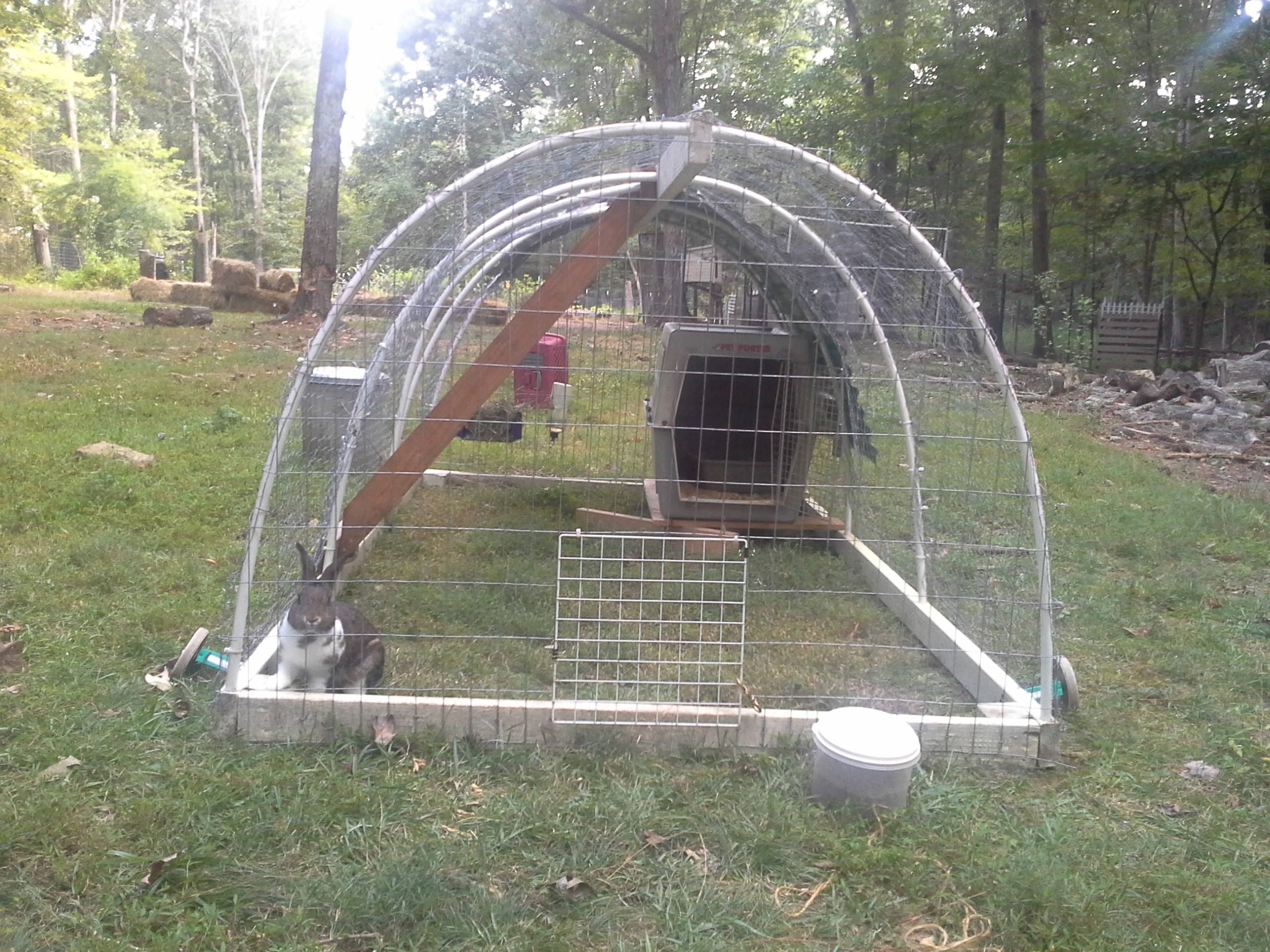 Rabbit tractor designs homesteading forum for Cheap chicken tractor